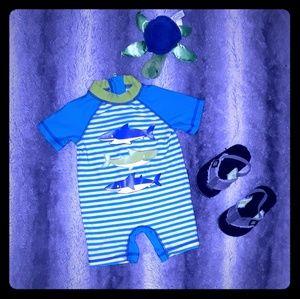 Little Me boy's Bathing Suit w/ Sandals